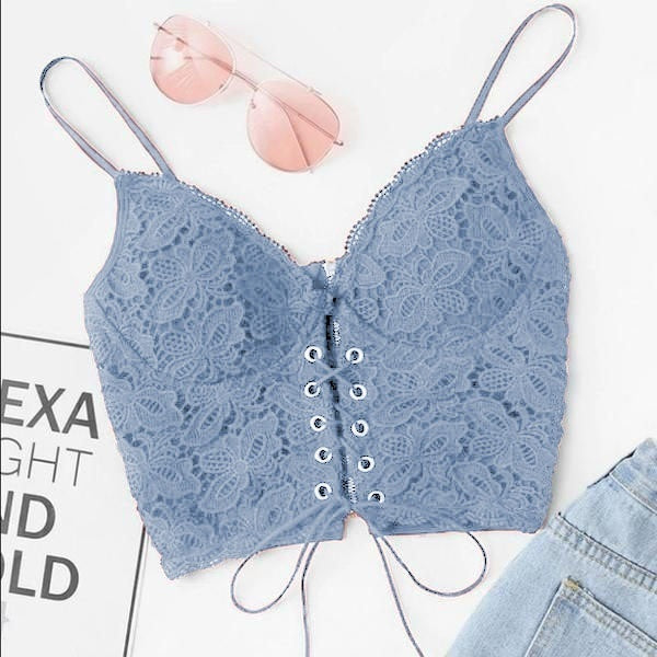 6 Colors New Ladies Vogue Brief Solid Spaghetti Strap Lace Bras Underwear Fashion Plus Size Strappy Lingerie Camisole Lace Crop Tops Vests