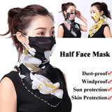 Sun Protection Dust-proof Windproof Ear Hanger Cycling Accessories Unisex Men Women Neck Cover Scarf Half Face Mask Breathable Triangle Bandana