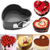 3Pcs Non-stick Springform Cake Pan Bakeware Mould with Removable Bottom Round Heart Square Shape for Dessert Chocolate Making