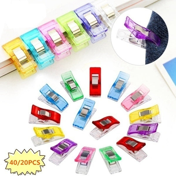 40/20/8 pcs Colorful Sewing Craft Quilt Binding Sewing Clips Plastic Clips Clamps Pack Trendy Gift