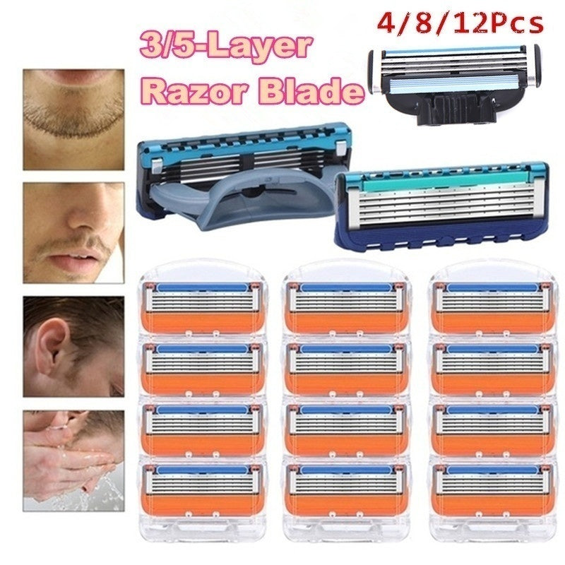 Hot Sale Men 3/5-layer Blade Replaceable Straight Manual Beard With 4/8/12 Pcs 3/5-layer Blades