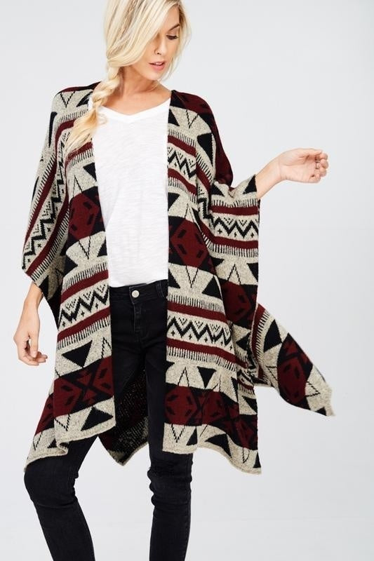 Wishlist 3/4 Length Aztec Print Sweater Knit Open Front Wide Poncho Cardigan