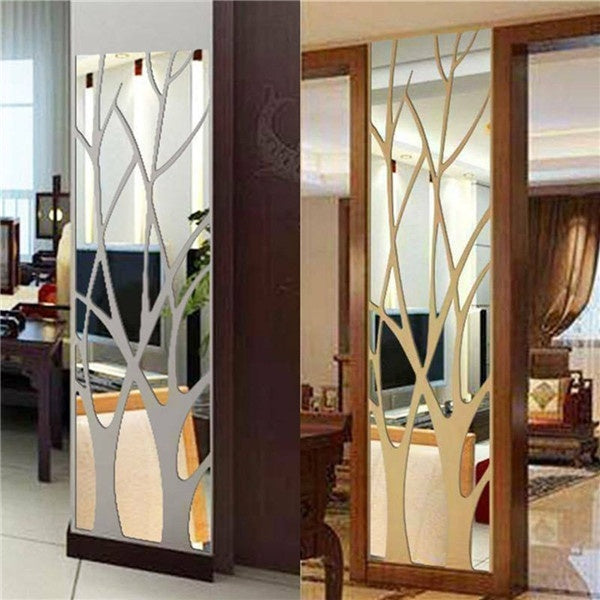 New 3d DIY Acrylic Mirror Wall Stickers Tree Home Decor Silver Gold Sticker Most Modern Living Room Bedroom Decoration