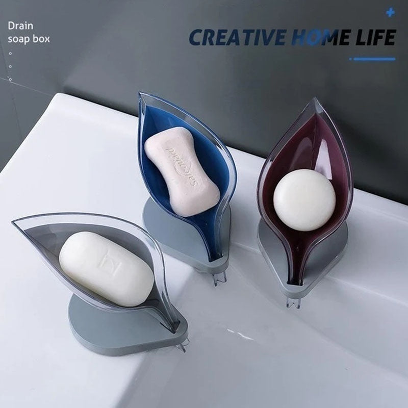 Soap Holder Box Leaf Shape Self Draining Soap Tray Saver Holder with Suction Cup for Shower Bathroom Kitchen Sink