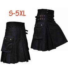Load image into Gallery viewer, New Men's Black Utility/Wedding Kilt   Vintage Warrior Cargo Kilt Pleated Skirt Black Scottish Utility kilt with leather loops for men