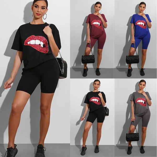 Women Summer Fashion Two Pieces Jumpsuits Solid Color Casual Sets Rouned Neck Short Sleeves T-shirt & Skinny Pants Sets