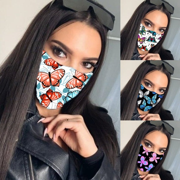New Charming Vogue Butterfly Printed Breathable Mouth Mask Washable and Reusable Windproof Anti-Dust Funny Masks