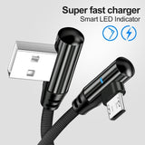 New 90 Degree Lightning Cable for Iphone Xr Micro USB Cable Fast Charging USB Type C Cable for S9 S8 Note 9 Mobile Phone USB Charging Cord