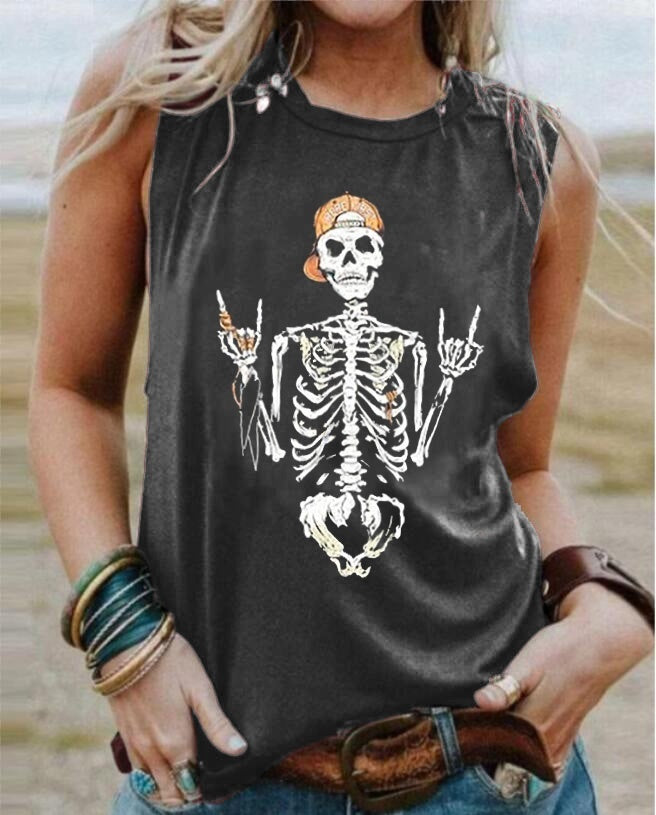 2020 W Fashion Gothic Punk Tank Tops Skull Print Sleeveless T-shirts Workout Fitness Hollow Casual Tees Plus Size S-5XL