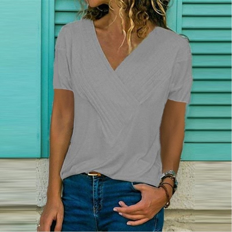 Casual Sexy Cotton T-shirts Woman T Shirts Summer Short Sleeve Ladies Tops Blouses for Women 2019 Plus Size V-Neck Girl Clothing