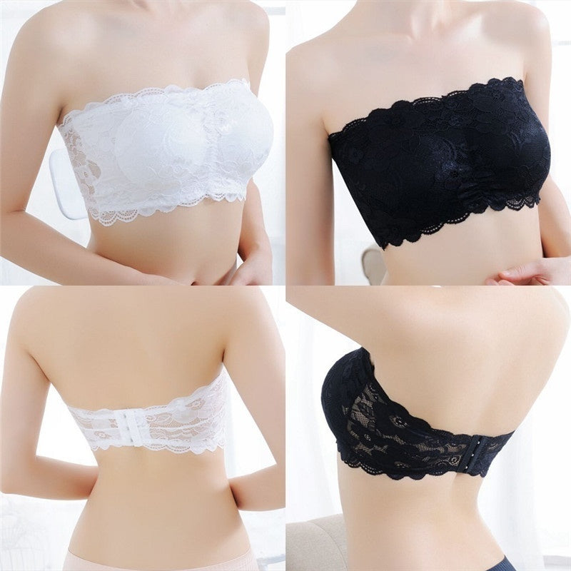 Women Stretch Lace Bra Push Up Wire Free Padded Strapless Seamless Top Underwear