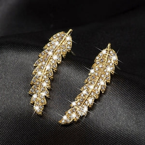 Exquisite ear climbers 925 Sterling silver in 18k gold filled clear crystal leaves feather cluster stud earrings for women