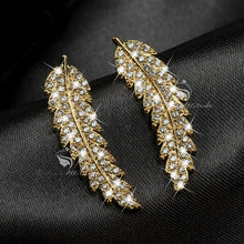 Load image into Gallery viewer, Exquisite ear climbers 925 Sterling silver in 18k gold filled clear crystal leaves feather cluster stud earrings for women