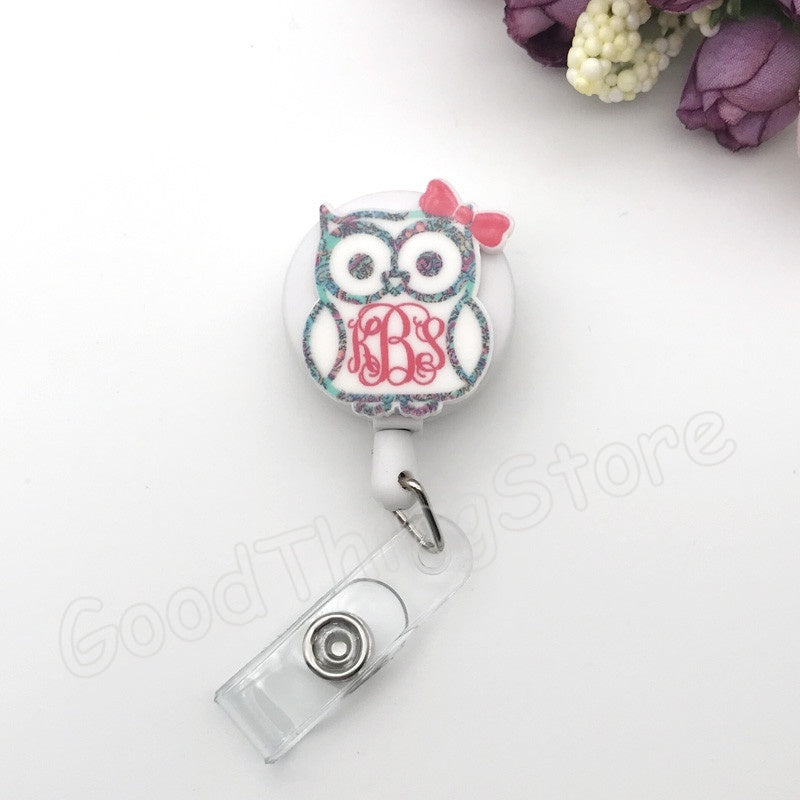 Cartoon  Flower Owl Retractable Pull Badge Reel ID Lanyard Name Tag Card Badge Holder Reels Doctor Nurse Office Supplies
