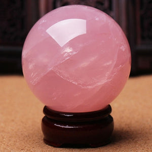 1pc New 30mm Natural Pink Rose Quartz Magic Crystal Healing Ball Sphere + Stand