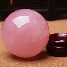 Load image into Gallery viewer, 1pc New 30mm Natural Pink Rose Quartz Magic Crystal Healing Ball Sphere + Stand