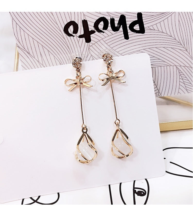 New 18K Golden Cat's Eye Stone Elegant Temperament Long Earrings Female Earrings