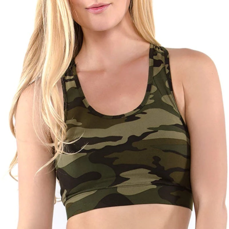 New Fashion Summer Women Sport  Bras Casual Camo Print Tank Tops Bandage Elastic Cage Bra Bustier Underwear