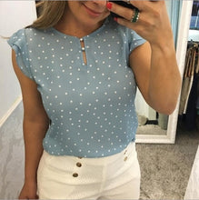 Load image into Gallery viewer, Femme Womens Clothing Lace Splice Chiffon Shirt Polka Dot Print Round Neck Chiffon Blouse Short Sleeve Tops