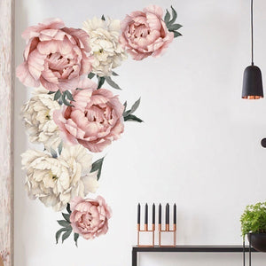DIY Peony Flowers Pattern Wall Sticker Art Decal Background Sticker For Home Living Room Bedroom Decoration