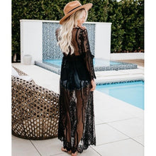 Load image into Gallery viewer, New lace tying cardigan sunscreen long cardigan bikini beach blouse