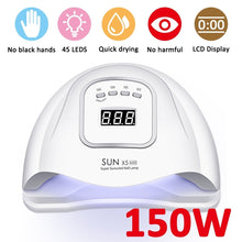 Load image into Gallery viewer, 150W 45LEDs 110-240V UV Nail Polish Dryer Lamp Gel Acrylic Curing Light EU/US plug