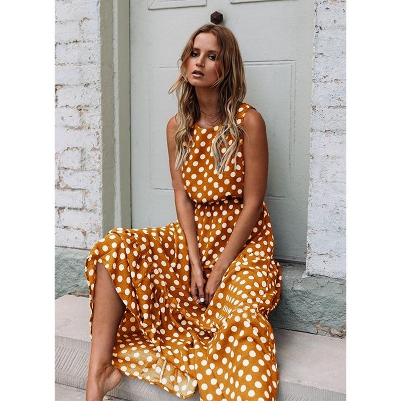 Fashion Women Holiday Maxi Polka Dot Long Dress Sleeveless Boho Loose Beach Casual Dress