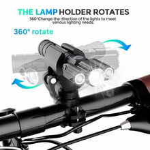 Load image into Gallery viewer, Three-head Bicycle Light, USB Rechargeable Bike Head Light, 4-Modes Powerful Lumens Road Bike Rainproof Headlight