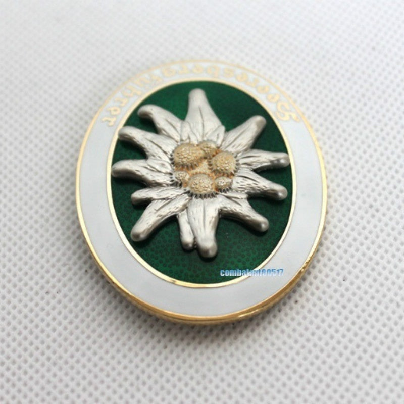 Copy German Mountain Gebirgsjager Edelweiss Metal Badge German Medal Military Fan Collection