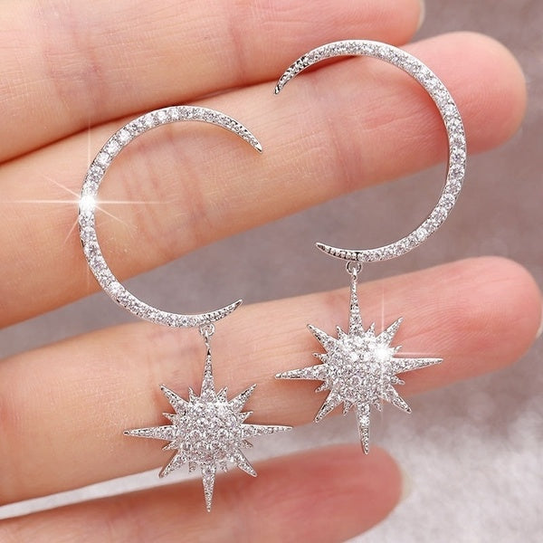 Exquisite 925 Sterling Silver 18K gold gemstone moon and star earrings crescent moon dangle Stud earrings