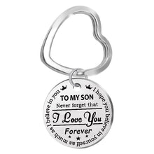 Load image into Gallery viewer, Fashion Classic to My Son/daughter..forever Love Mom Stainless Steel Pendant Keychain Crown Pendant Key Ring Gift
