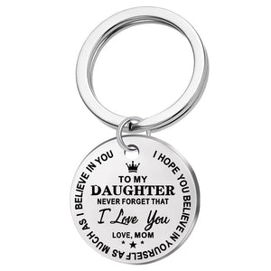 Fashion Classic to My Son/daughter..forever Love Mom Stainless Steel Pendant Keychain Crown Pendant Key Ring Gift