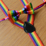 Clip On Adjustable Unisex Rainbow Striped Suspenders Braces And Bow Ties Sets For Women Mens kids