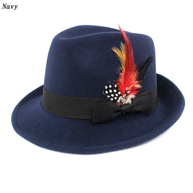 6 Colors Men Hard Felt Feather Trilby Jazz Hat Woolen Pork Pie Hat