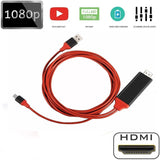 1080P 6ft 8 Pin Interface To HDMI TV AV Adapter Cable for IPhone 6 6S 7 8 Plus X