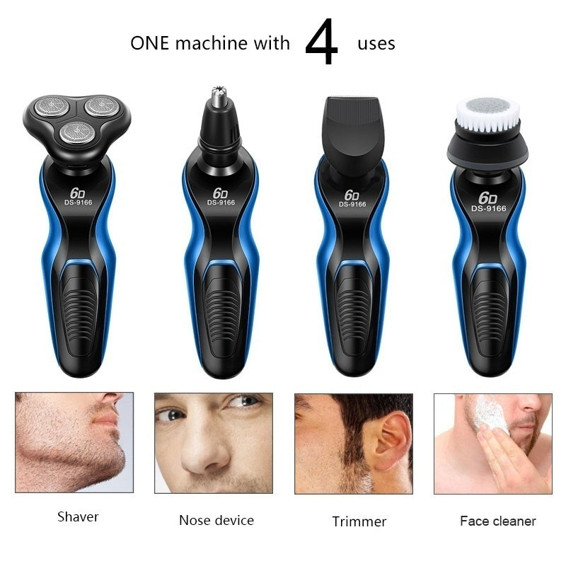 4 In 1 Mens Floating Electric Razor Hair Shaving Trimmer Nose Hair Clipper Face Cleaner for Men