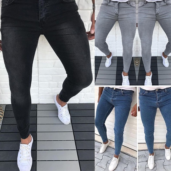 Men's New Fashion Skinny Jeans Denim Long Pant Pencil Jeans for Men Straight Jean Casual Skinny Slim Fit Solid Color Jeans S-3XL