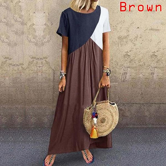 Womens Short Sleeves Round Neck Color Block Plus Size Summer Swing Long Dresses