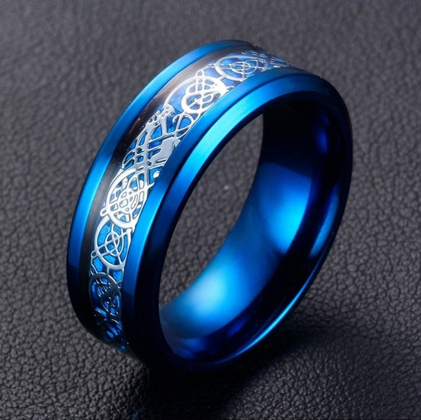 8Mm Blue Tungsten Carbide Ring  Dragon Blue Carbon Fibre Men's Jewelry Gift