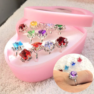 12/24/36Pcs Adjustable Cute Diamond Ring Jewelry Party Favor Gifts For Girls Children Kids