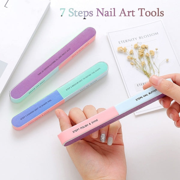 Six-Sided Polishing Nail File Tool 7 Steps Manicure Pedicure Buffer Nail Art Tools