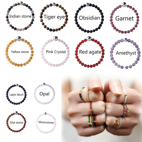 Fashion  Ring Original Design Handmade Stainless Steel Natural Stone Ring Set for Women, 12 Kinds of Natural Stones Energy Stone