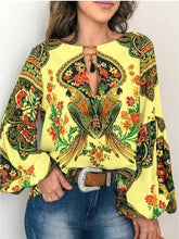 Load image into Gallery viewer, 2019 Women's Fashion Trend Clothing Vintage Lantern Sleeve Shirts &blouse Ethnic Style Printing Shirts Long Sleeve Plus Size Tops S-5XL