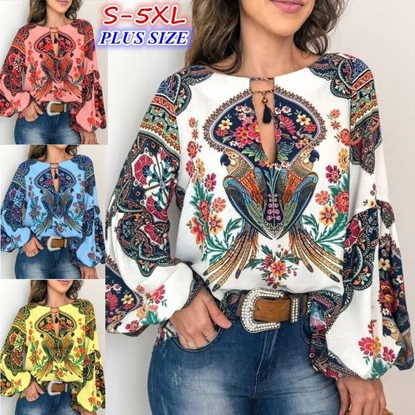 2019 Women's Fashion Trend Clothing Vintage Lantern Sleeve Shirts &blouse Ethnic Style Printing Shirts Long Sleeve Plus Size Tops S-5XL