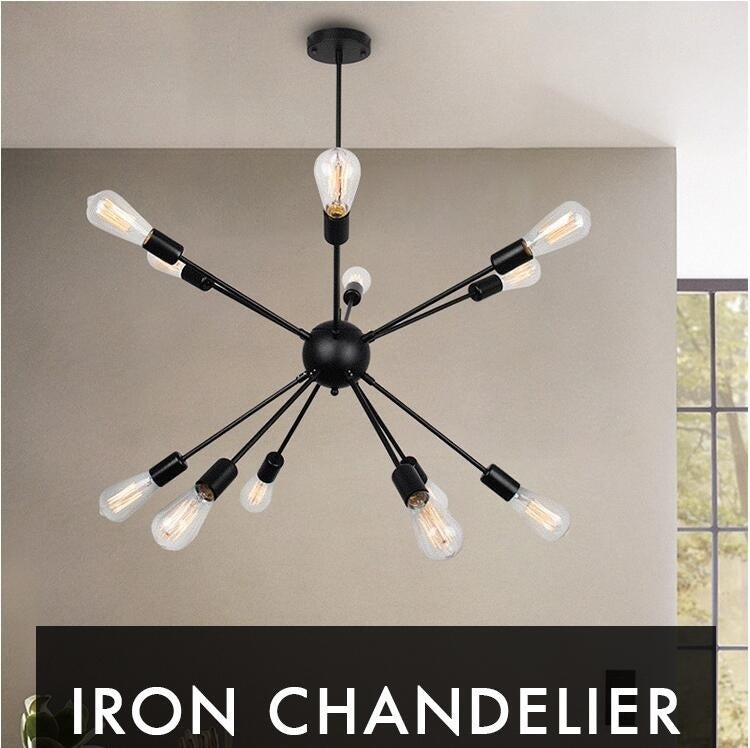 8/12 lights Black lustre Retro chandelier loft Pendant Lights Wrought Iron  American Spider light Restaurant Bar Industrial Warehouse Vintage Ceiling lights