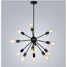 Load image into Gallery viewer, 8/12 lights Black lustre Retro chandelier loft Pendant Lights Wrought Iron  American Spider light Restaurant Bar Industrial Warehouse Vintage Ceiling lights