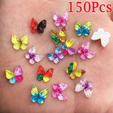 150Pcs Mix Resin 10mm Colorful Butterflies Flat Back Rhinestone Appliques DIY Wedding Scrapbook Craft