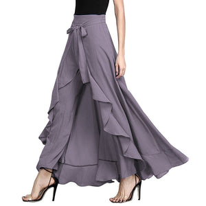 Women's Fashion Tie-Waist Ruffle Palazzo Pants Long Party Maxi Dress