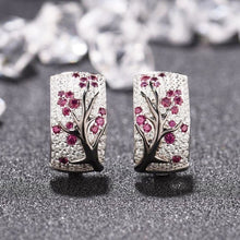 Load image into Gallery viewer, Dazzling 925 Sterling Silver Natural Gemstone Diamond Floral Earrings Women Wedding Engagement Fine Jewelry