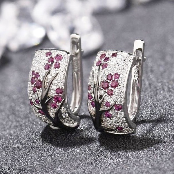 Dazzling 925 Sterling Silver Natural Gemstone Diamond Floral Earrings Women Wedding Engagement Fine Jewelry